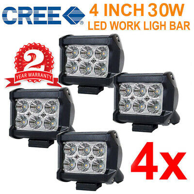 4Pcs 4Inch 18W Cree Led Light Bar Flood Offroad Driving Reverse Work Boat Suv Au