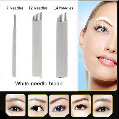 50X Microblading Permanent Makeup Manual Eyebrow Tattoo Curved Blade Needles 2cm