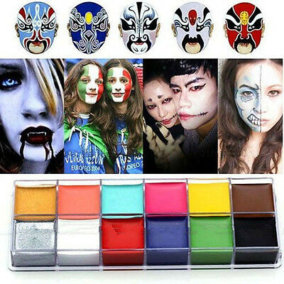 Professional 12 Colors Face Paint Oil Painting Make Up Halloween Party Kit Set!