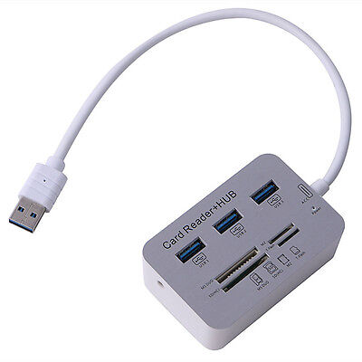 3 Port USB 3.0 Hub With MS SD M2 TF Multi-In-1 Aluminum Card Reader Portable New