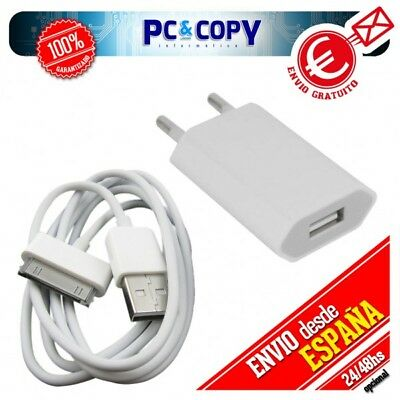 Cargador red corriente USB+cable PARA iphone 4 4S 3 3GS iPad 2 5V 1A blanco comp