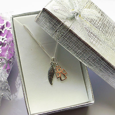 Little Angel & Angel wing pendant sterling silver necklace for Baby Kids Women