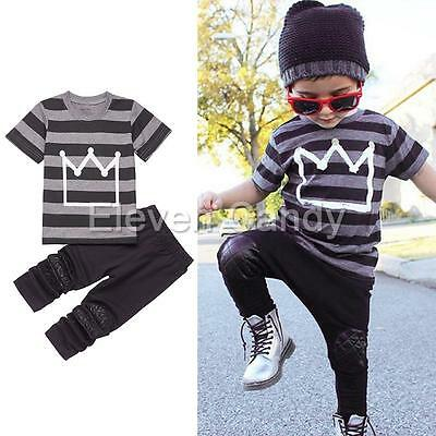 2PCS Boys Baby Outfits Toddler Kids Tops T-shirt+Long Pants Set Casual Clothes