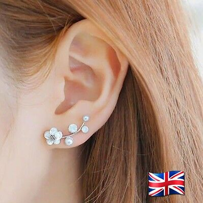 Women Elegant Crystal Rhinestone Pin Stud Daisy Flower Drop Earrings Jewelry UK