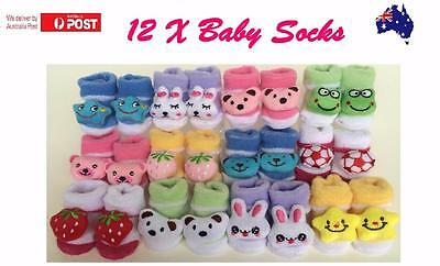 12 x BABY GIRLS  SOCKS COTTON BOOTIES SHOES SLIPPERS NEWBORN TODDLER 0-6MONTHS