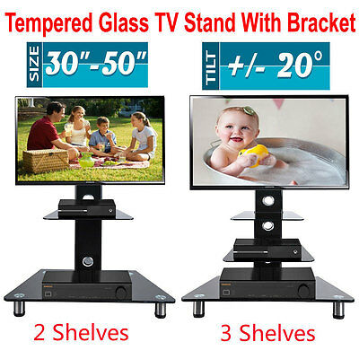 """Cantilever Black Glass TV Stand With Mount Bracket For 30-50"""" 42"""" Plasma LCD LED"""