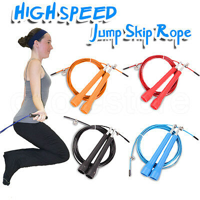 Adjustable Crossfit Speed Cable Wire Skipping Jump Rope  Length Cardio Heart Gym