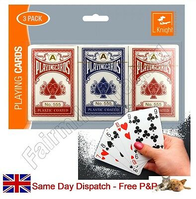 **3 Pack** Traditional Playing Cards Plastic Coated Security Sealed Poker Bridge