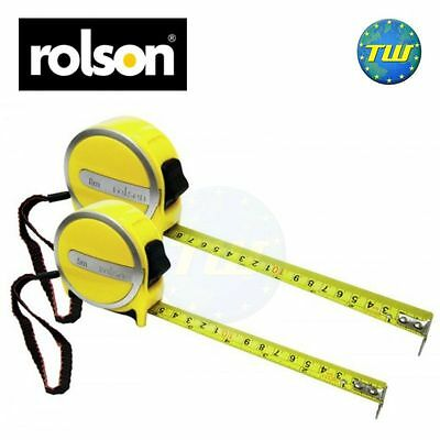 Rolson Twin Pack 5M 8M Handy Measuring 2pc Tape Measure Set with Belt Clips DIY
