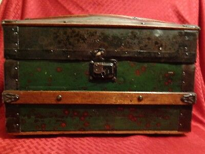 Victorian Doll Domed Steamer Trunk Lithograph Girls Dome Chest Box