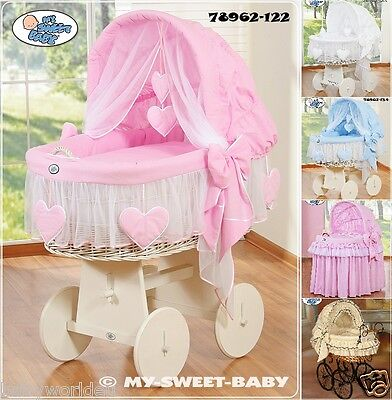 Huge And Retro Wicker Moses Basket With Bedding Set And Stand 5 Colours