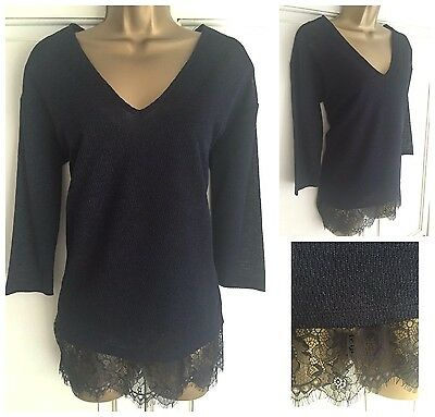 70fce11401ff7b New Ex Chainstore Navy Blue Sparkle Lace Trim 2 In 1 Occasion Top Size 8 -