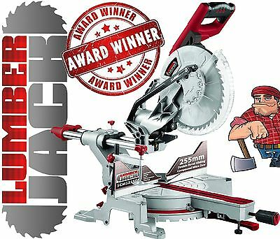 "Lumberjack 10"" 2000W Double Bevel Sliding Compound Mitre Saw with Laser 230v"