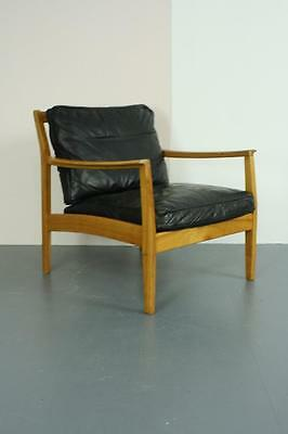 Midcentury Danish Stouby Armchair Lounge Chair Black Leather Retro Vintage #1814
