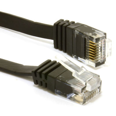 15m FLAT CAT6 Ethernet LAN Patch Cable Low Profile GIGABIT RJ45 BLACK