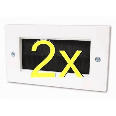 [2 pack] Cable Entry/Exit BRUSH Faceplate for Wall Outlet Double Width White [00