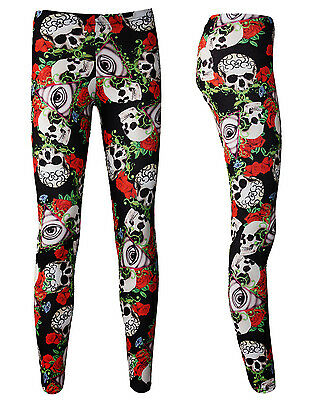 Unique The Watcher Gothic Eye Floral Tattoo Skull Roses Print Leggings Goth Emo