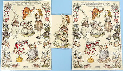 2 Shackman Alice In Wonderland Embossed Cut-Out Sheets & Paper Doll Set