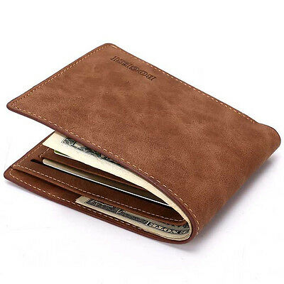 Men's Leather Bifold Credit ID Card Holder Slim Billfold Thin Wallet Business
