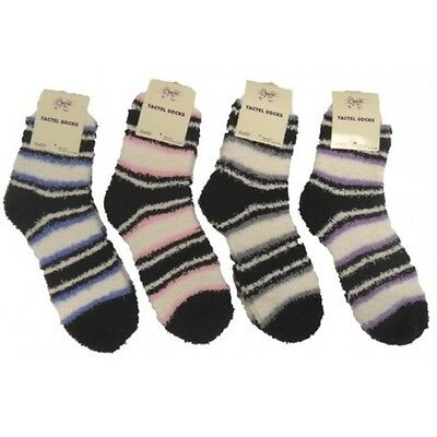 3 Pairs Ladies Stripe Soft Touch Fluffy Lounge Winter Gift Bed Socks  4-6 Uk