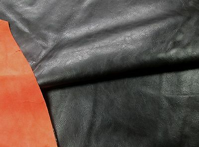 Black calfskin cowhide for leathercraft PU coated Barkers Hide & Leather N268