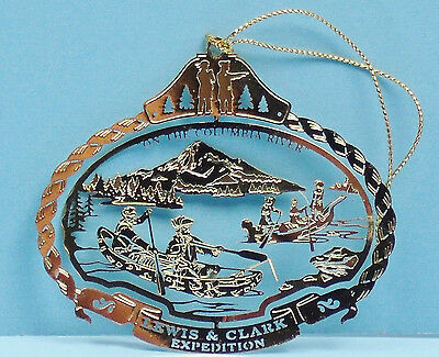 Lewis & Clark Expedition Brass Christmas Ornament Columbia River Canoes