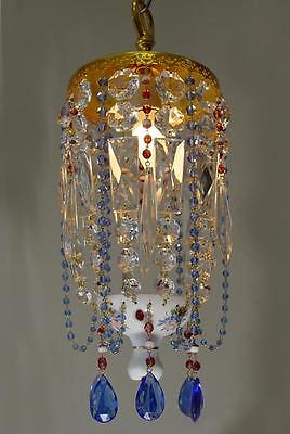 """VINTAGE 8""""x 16"""" Czech. Bohemian GLASS Red OVERLAY CHANDELIER Blue BEADS CRYSTAL"""