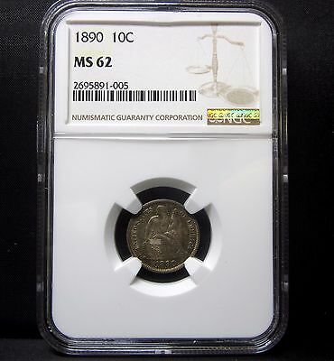 1890-P Seated Liberty Dime ✪ Ngc Ms-62 ✪ 10C Uncirculated Unc Silver ◢Trusted◣