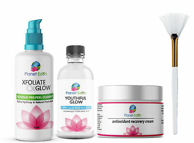 40% Lactic Acid Skin Peel Kit + Glycolic Cleanser + Recovery Cream + BRUSH