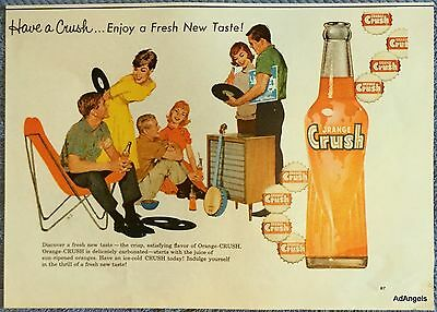 1960 Orange Crush Young Adults Listening Records Banjo Fresh New Taste ad