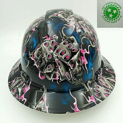 Hard Hat FULL BRIM custom hydro dipped , OSHA approved DEADLY DICE  NEW