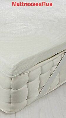Memory Foam Mattress  Toppers With  Elasticated Strapped Cover In All Sizes