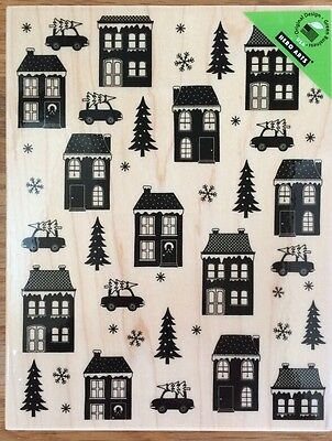 """Hero Arts """"House And Home"""" Background Wood Mounted Rubber Stamp -Christmas *New"""