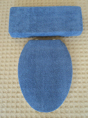 Navy Blue Bathroom Terry Cloth Terrycloth Toilet Seat & Tank Lid Cover Set