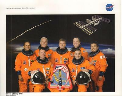 "STS-119 NASA SPACE SHUTTLE ATLANTIS  CREW 8 x10"" PHOTO EXCELLENT  FREE US SHIP"