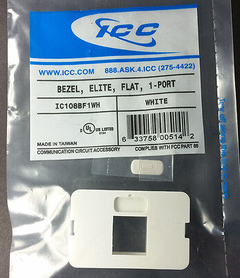 Lot of 50 ICC IC108BF1WH 1-Port Flat Elite Bezel White