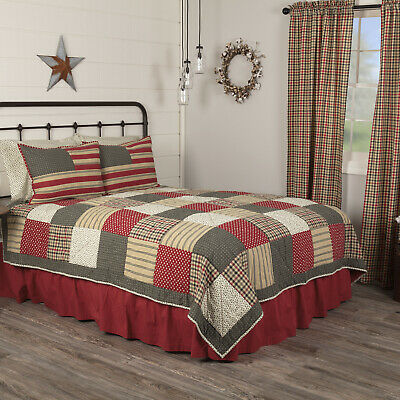 Victory Americana Queen Size 3 Pc Quilt Set All Cotton Quilt+Shams Patchwork VHC
