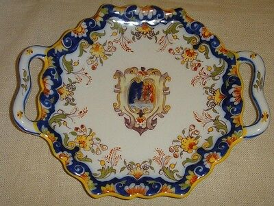 Antique French Faience Rouen Hand Painted Pierced Two Handles Cabinet Plate