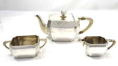 Austrian 800 Silver ART DECO Three Piece Tea Set