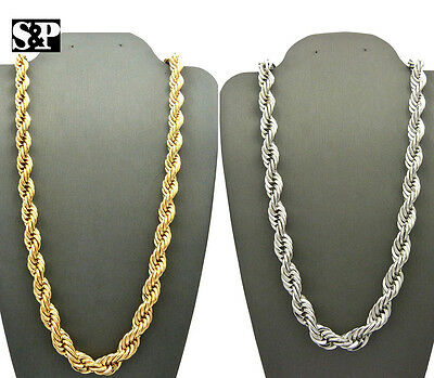 MENS HIP HOP BLING RAPPERS GOLD SILVER PT ROPE CHAIN 8mm 24 30