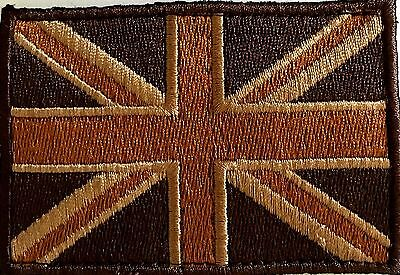 Union Jack Velcro Woven  Embroidered Desert patch with male and female loop