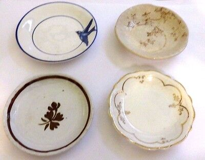 Vintage Butter Pats Lot Of 4 Johnson Bros & Unmarked Crazed Or Issues