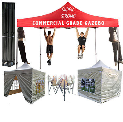 TAN/CREAM STRONG COMMERCIAL GRADE HEAVY DUTY POP UP GAZEBO/TENT/MARQUEE 3m x 3m