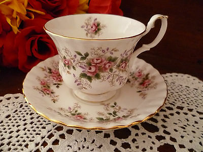 Lavender Rose Tea Cup &  Saucer By Royal Albert Made In England
