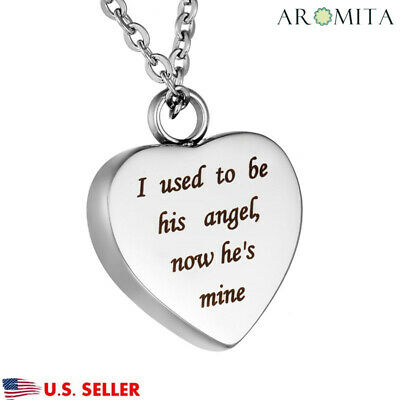 Now He's My Angel Heart Cremation Jewelry Keepsake Memorial Urn Necklace 22''