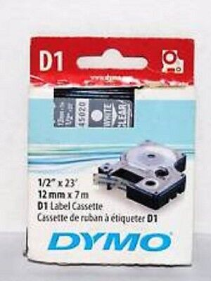 Genuine Label D1 Tape for Dymo 45020 White on Clear 12mm x 7m SD45020