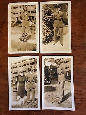 Lot of (4) Vintage 1940's Black & White WW2 Serviceman Photos
