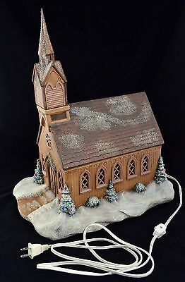 Vintage 1975 Byron Mold Hand Painted Porcelain Lighted Church Christmas Village