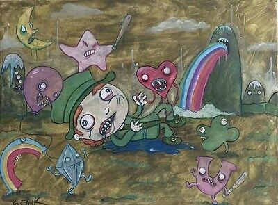 ORIGINAL Art painting GUS FINK Folk Outsider Brut lowbrow Horror LUCKY CHARMS