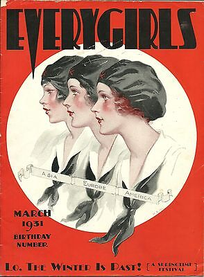 Camp Fire Girls - Everygirls Magazine - March 1931 - Not Scout - Free Shipping